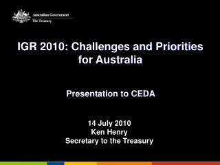 IGR 2010: Challenges and Priorities for Australia