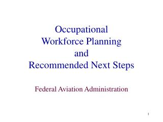 Occupational  Workforce Planning  and  Recommended Next Steps