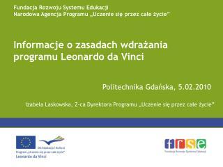 Informacje o zasadach wdrażania programu Leonardo da Vinci