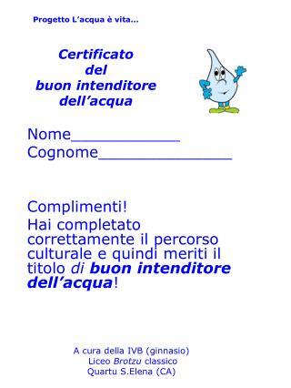 Certificato del buon intenditore dell'acqua