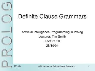 Definite Clause Grammars