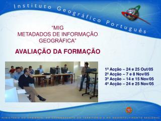 """""""MIG  METADADOS DE INFORMAÇÃO GEOGRÁFICA"""" AVALIAÇÃO DA FORMAÇÃO"""