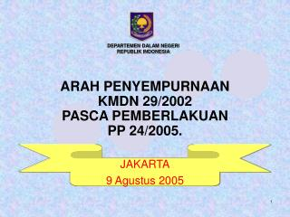 ARAH PENYEMPURNAAN KMDN 29/2002 PASCA PEMBERLAKUAN PP 24/2005.