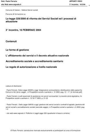 Comune di Varese � Settore Servizi sociali Percorso di formazione su: