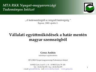 Vállalati együttműködések a határ mentén magyar szemszögből