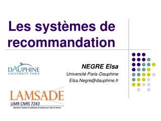 Les systèmes de recommandation