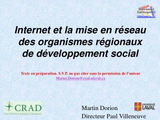 Internet et la mise en r seau des organismes r gionaux de d veloppement social