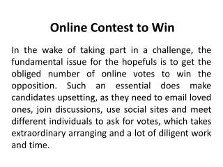 Online Contests to win