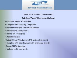 Web Based Payroll Management Software