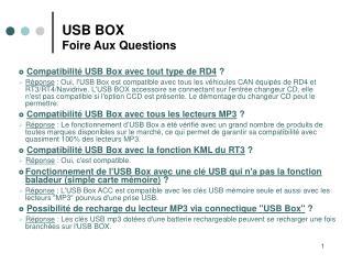 USB BOX Foire Aux Questions