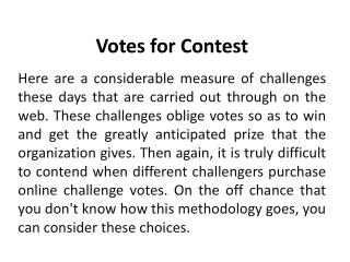 Votes for Contests