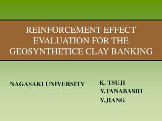REINFORCEMENT EFFECT EVALUATION FOR THE GEOSYNTHETICE CLAY BANKING