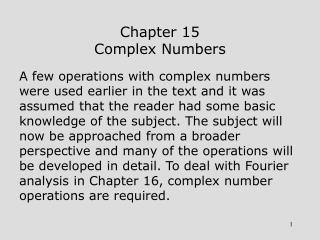 Chapter 15 Complex Numbers
