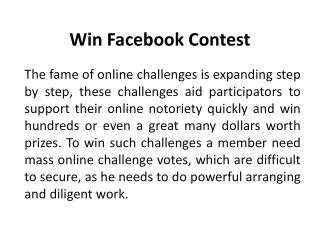 Win Facebook Contest