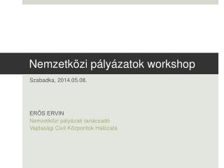 Nemzetk�zi p�ly�zatok workshop