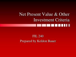 Net Present Value  Other Investment Criteria