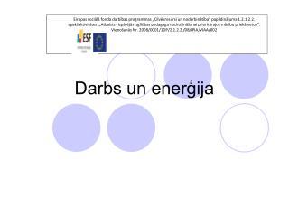 Darbs un enerģija