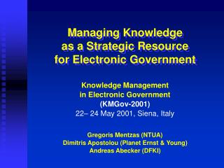Managing Knowledge as a Strategic Resource for Electronic Government