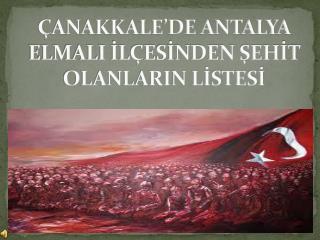 ÇANAKKALE'DE ANTALYA ELMALI İLÇESİNDEN ŞEHİT OLANLARIN LİSTESİ