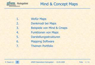 Wofür Maps Denkmodi bei Maps Beispiele von Mind & Cmaps Funktionen von Maps Darstellungsstrukturen