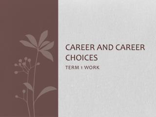 CAREER AND CAREER CHOICES