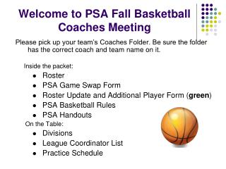 Welcome to PSA Fall Basketball Coaches Meeting