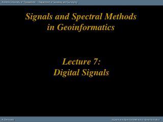 Lecture 7: Digital Signals