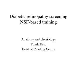 Diabetic retinopathy screening  NSF-based training