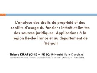 Thierry KIRAT  (CNRS – IRISSO, Université Paris-Dauphine)