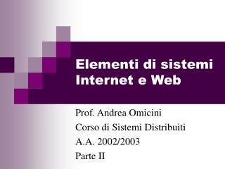 Elementi di sistemi Internet e Web