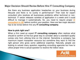 Major Decision Should Revise Before Hire IT Consulting Compa