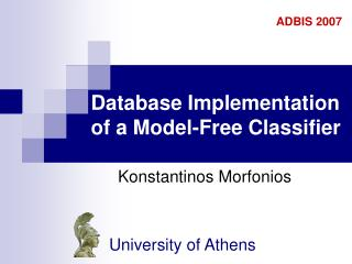 Database Implementation of a Model-Free Classifier