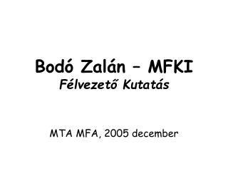 Bodó Zalán – MFKI Félvezető Kutatás