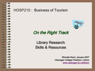 HOSP210 :   Business of Tourism
