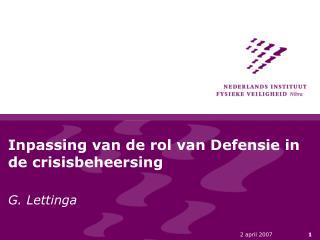 Inpassing van de rol van Defensie in de crisisbeheersing