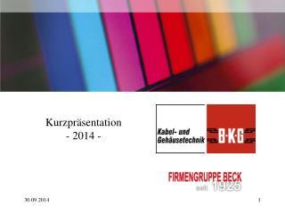 Kurzpräsentation  - 2014 -