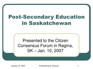 Post-Secondary Education in Saskatchewan