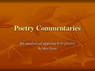 Poetry Commentaries