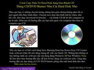 Cách Copy Data Từ Hard Disk Sang Qua Blanh CD Dùng CD/DVD Burner Như Cái Hard Disk Nhỏ