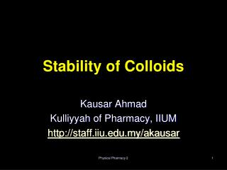 Stability of Colloids
