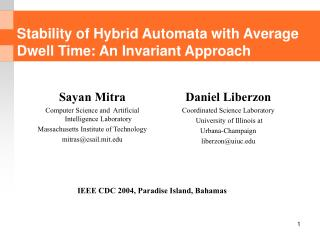 Stability of Hybrid Automata with Average Dwell Time: An Invariant Approach