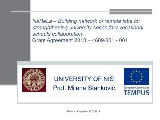 UNIVERSITY OF NIŠ Prof.  Milena  Stanković