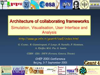 Architecture of collaborating frameworks Simulation, Visualisation, User Interface and Analysis