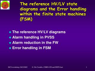 The reference HV/LV state diagrams and the Error handling within the finite state machines (FSM)