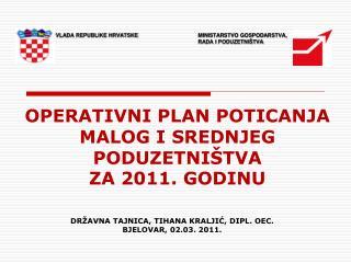 OPERATIVNI PLAN POTICANJA  MALOG I SREDNJEG PODUZETNIŠTVA  ZA 2011. GODINU
