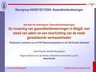 Stuurgroep AG/00/129 COSA: Gezondheidsrekeningen