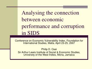 Analysing the connection between economic performance and corruption in SIDS