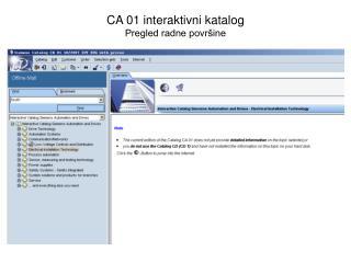 CA 01 interaktivni katalog Pregled radne površine