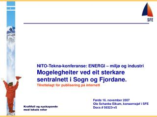 NITO-Tekna-konferanse: ENERGI – miljø og industri