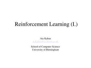 Reinforcement Learning (I.)
